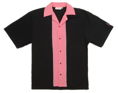 1950s Mens Clothing : Retro Mens Bowling Shirt- Pink and Black  http://www.vintagedancer.com/1950s/1950s-mens-clothing/