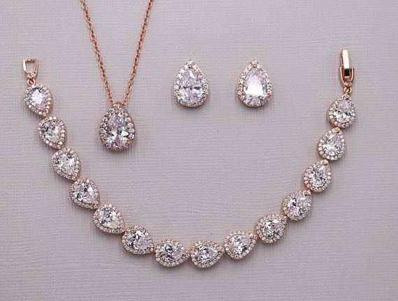 Rose Gold Jewelry Set Wedding Necklace Set Rose Gold Wedding