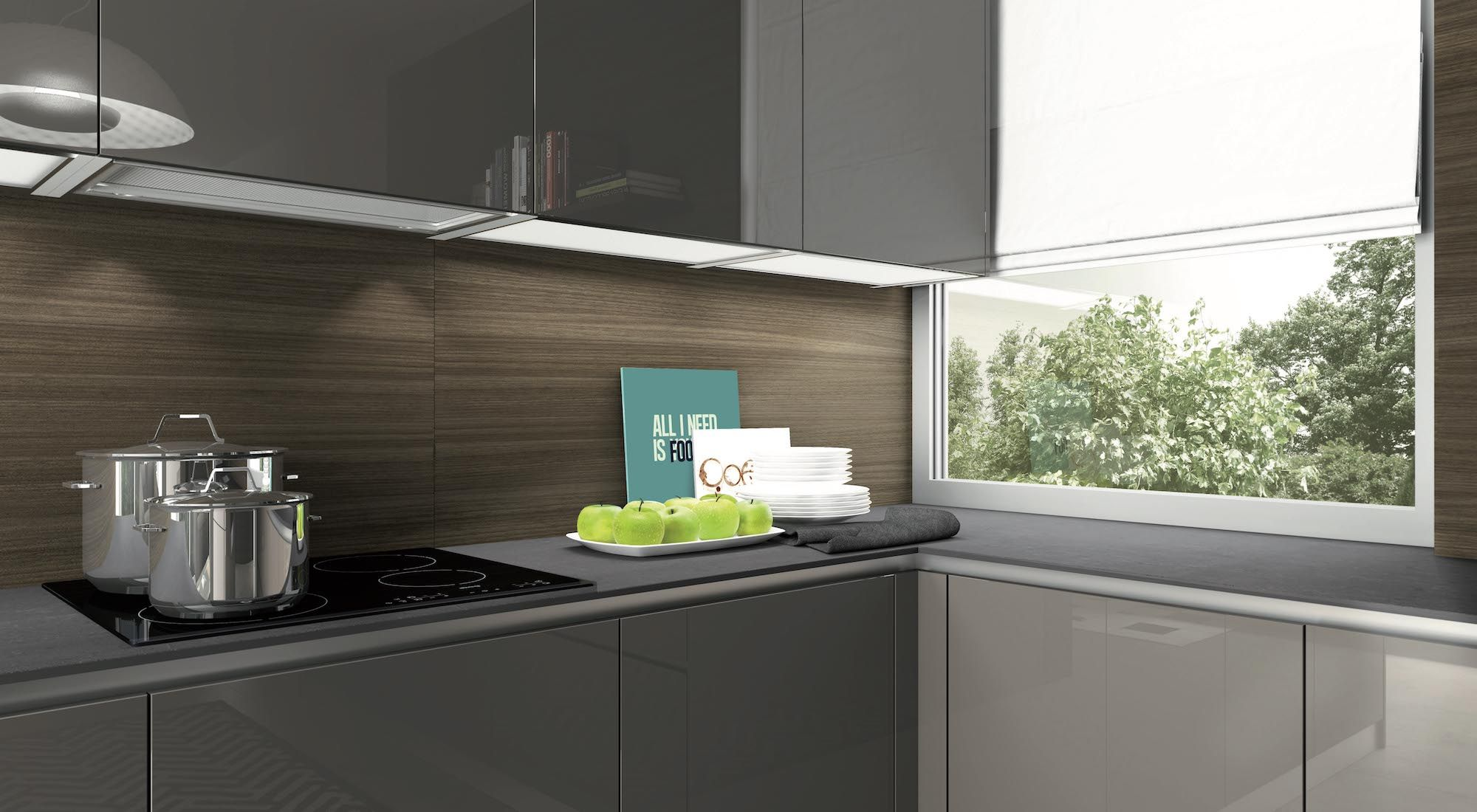 Elite modern kitchen in Mocca Star high gloss lacquered cabinets by