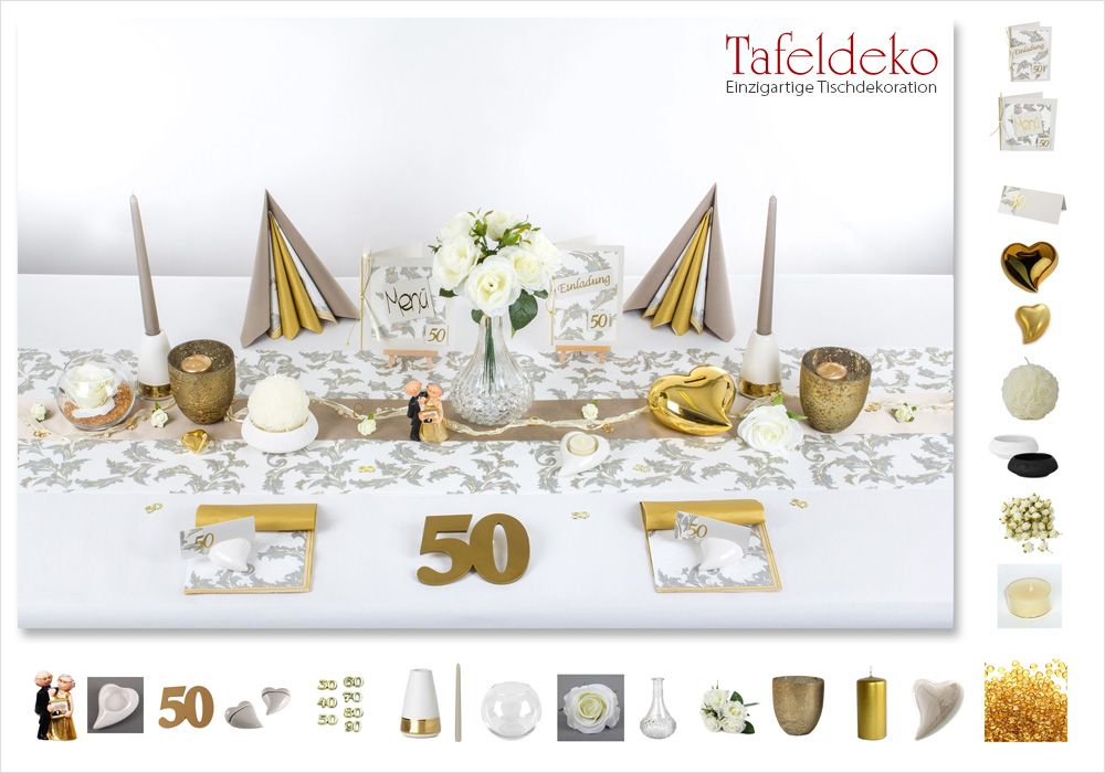 Elegante Tischdeko Zur Goldenen Hochzeit Die Tischdekoration Zur