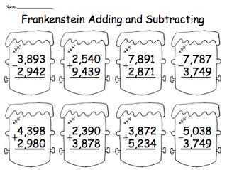 freebies  tpt free lessons  math halloween math math worksheets halloween multidigit addition and subtraction freebie