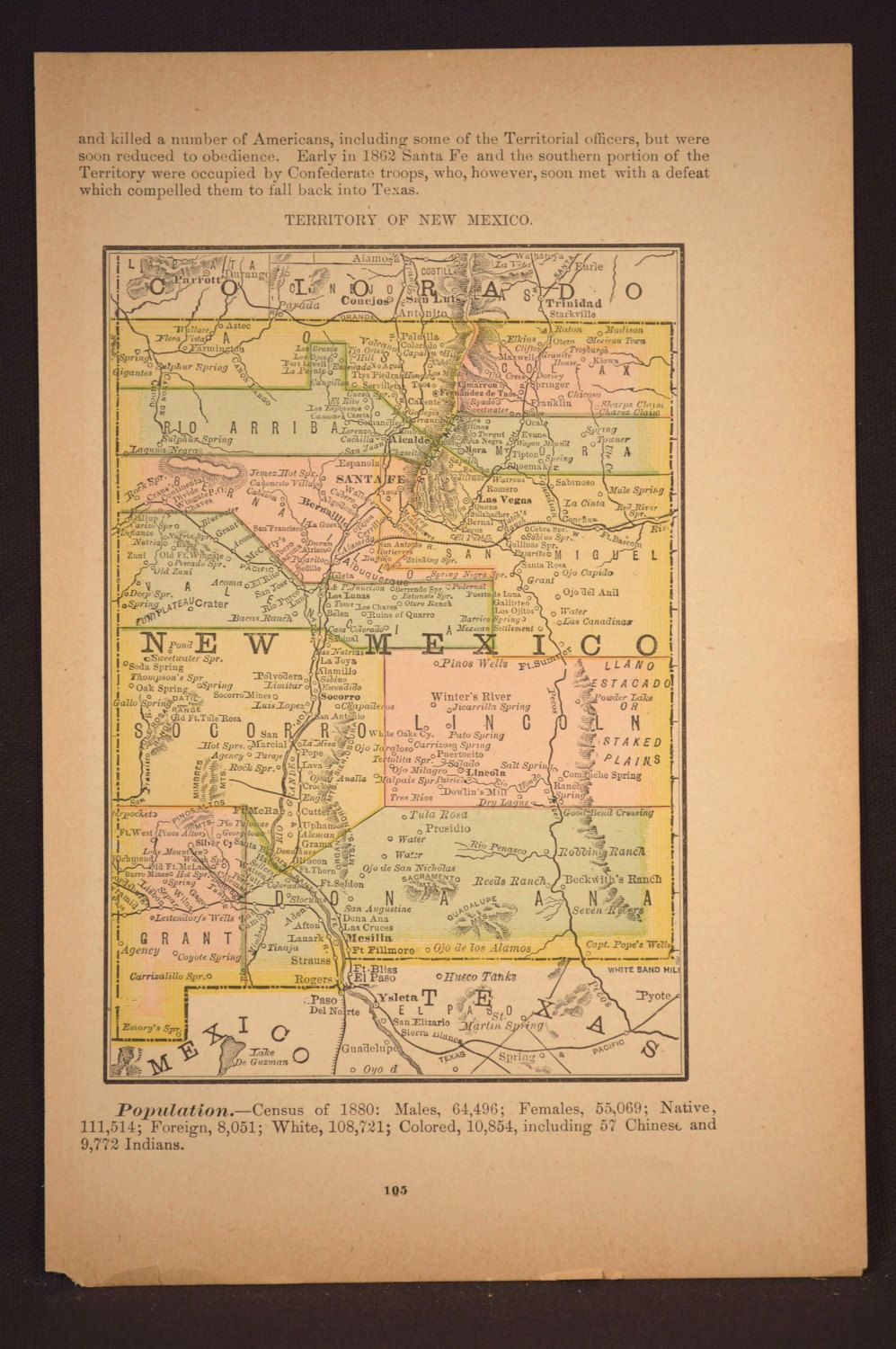 New Mexico Map New Mexico Antique Original Late 1800s | Map Wall ...