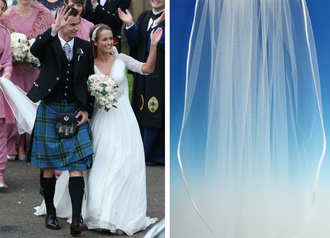 Kim Sears wore a long plain veil, tucked in the back of her half up, half down do. To get a look like Kim's you could try our veil 472C,  an elegant single tier veil with a satin ribbon edge.