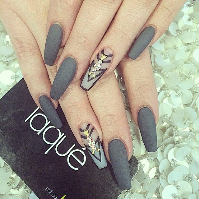 Coffin Shaped Nails With Grey Polish