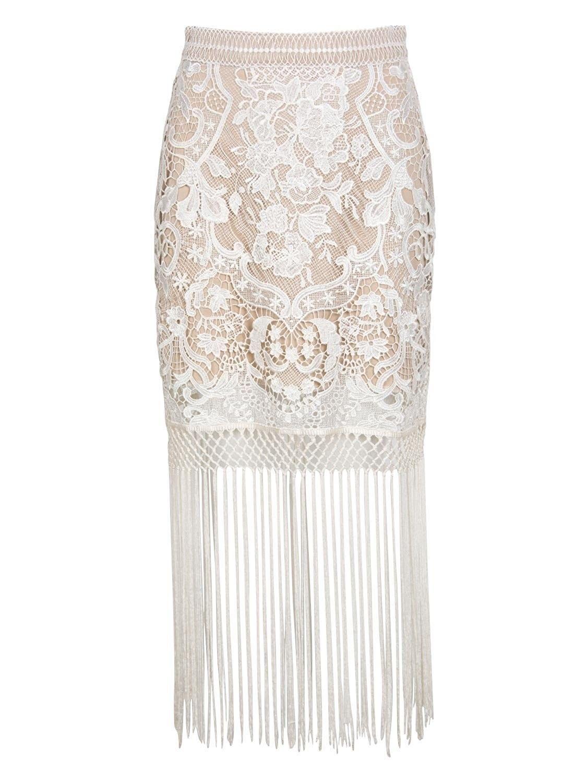4fc02e3ef5 Choies Women White Tassel Crochet Mesh Lace Floral Midi Pencil Skirt -  White - CM12KPQYRJP,Women's Clothing, Skirts #women #fashion #style  #outfits #sexy # ...