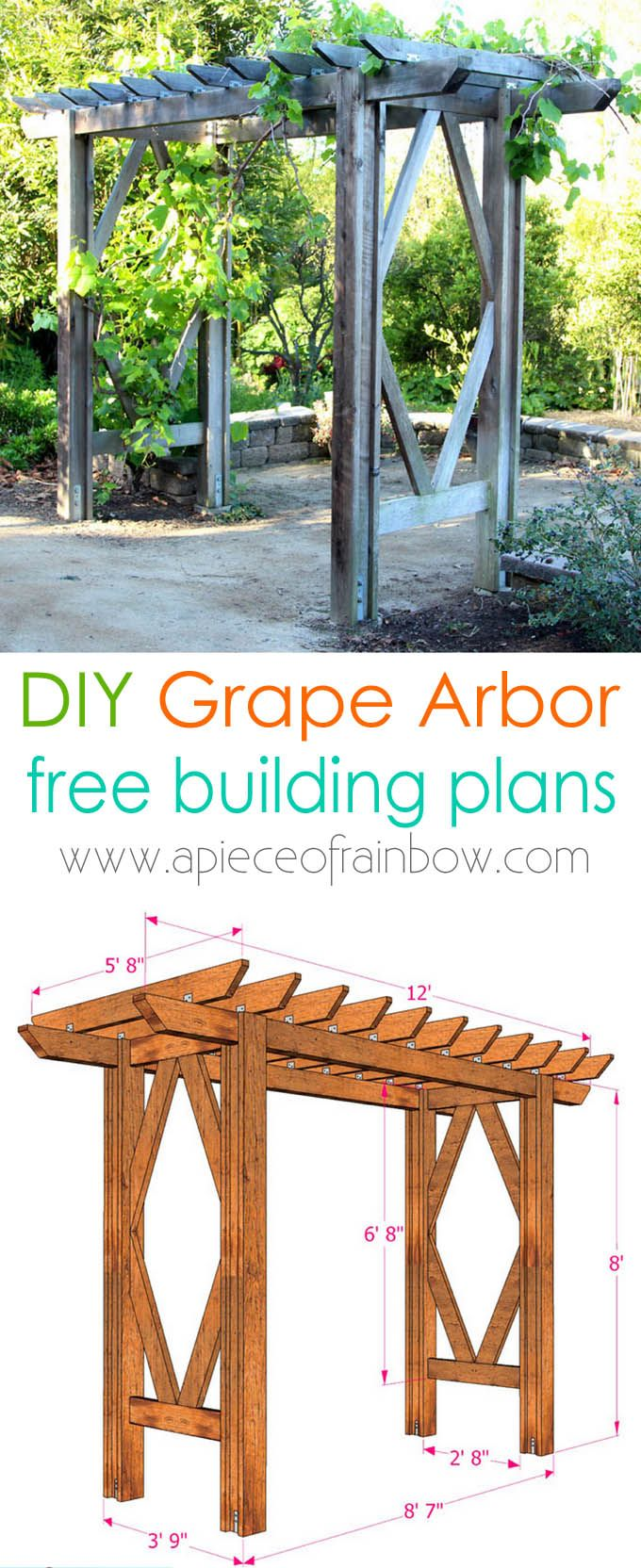 Simple Diy Pergola Grape Arbor Free Building Plan Diy Garden Trellis Diy Pergola Diy Arbour
