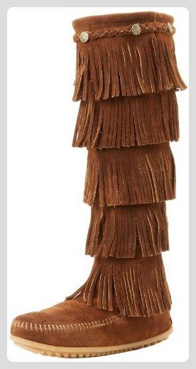 Minnetonka Damen 5-Layer Fringe Mokassin Stiefel, Braun (Dusty Browndusty  Brown),