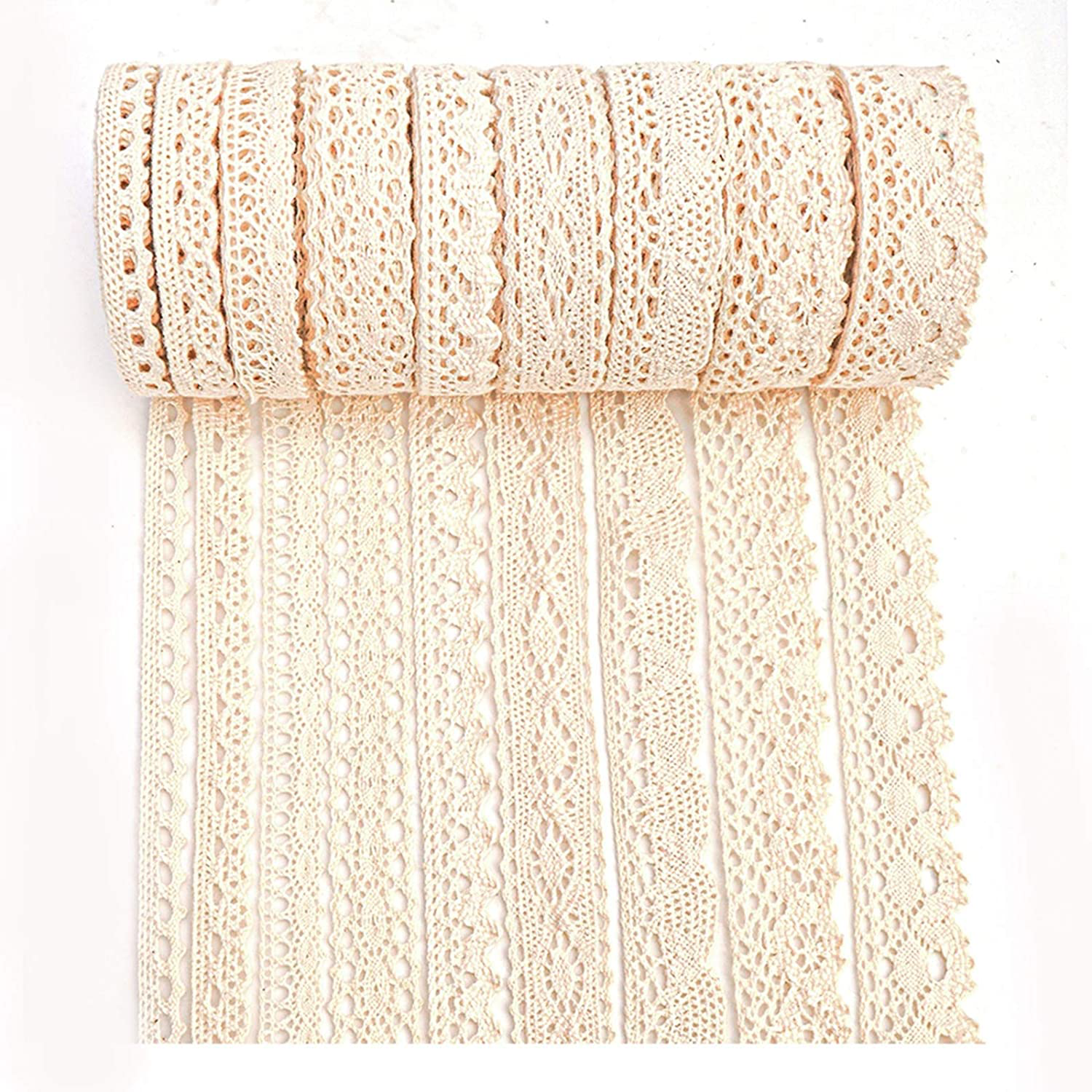 Photo of IDONGCAI Lace Ribbon for Crafts Lace Sewing Trims-Ribbon Lace for Bridal Wedding Decoration Valentine's Day Package DIY Sewing Craft Supply Mix 40 Yards (5 Yard Each) – Beige
