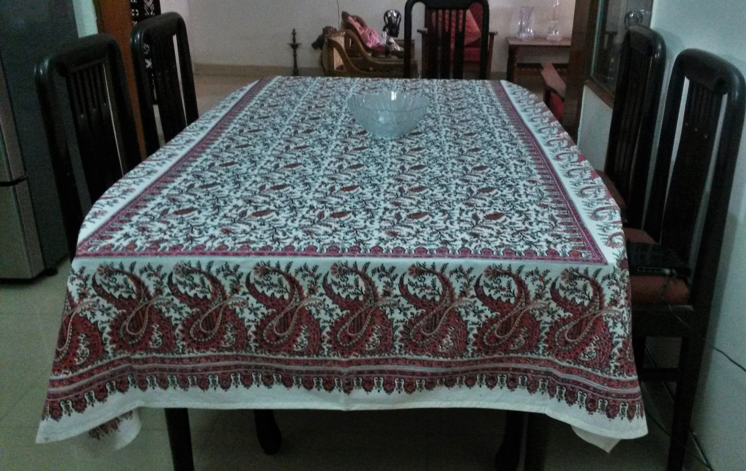 Home And Living Table Linen Hand Block Printed Paisleys TableCloth ...