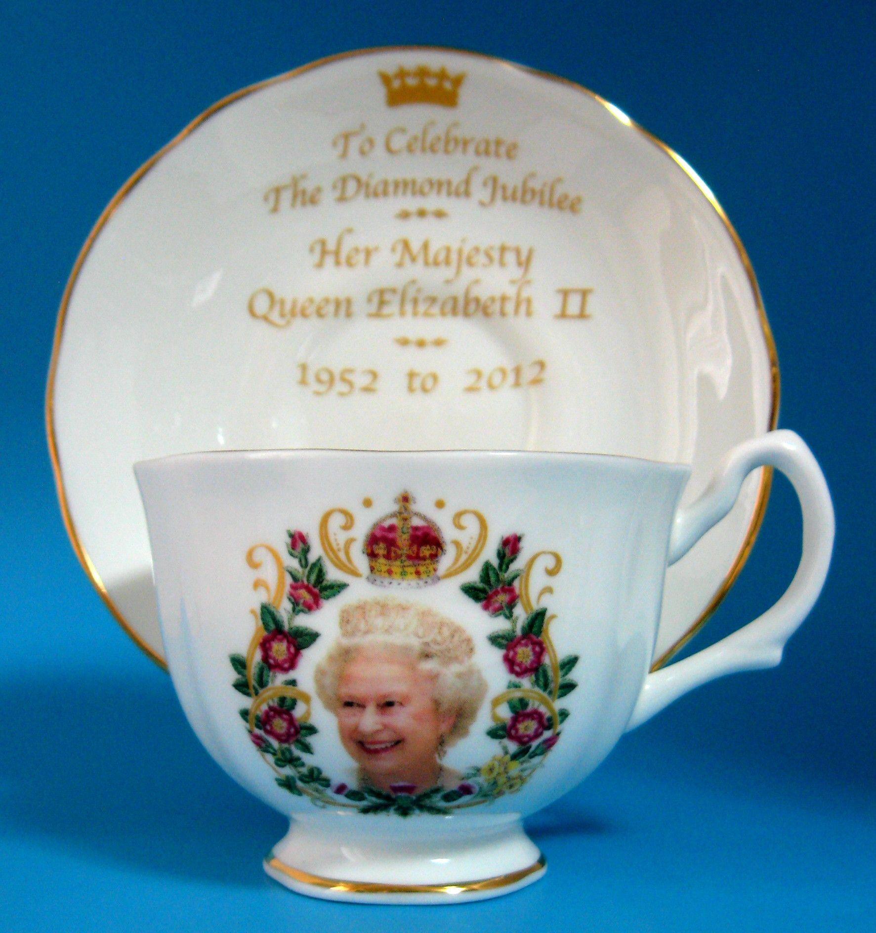 Cup And Saucer Queen Elizabeth II Diamond Jubilee English