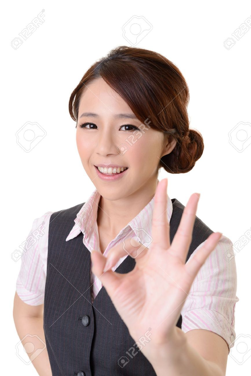 Asian Business Woman Give You OK Gesture, Close Up Portrait On ...