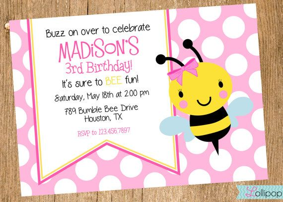Pink Bee Printable Invitation Pink Bumble Bee by LollipopInk, $13.50 ...