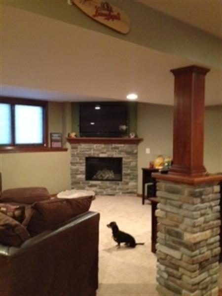 Basement Brick Wall For Tv And Matching Brick On Pillars Basement Remodeling Basement Design Basement Makeover
