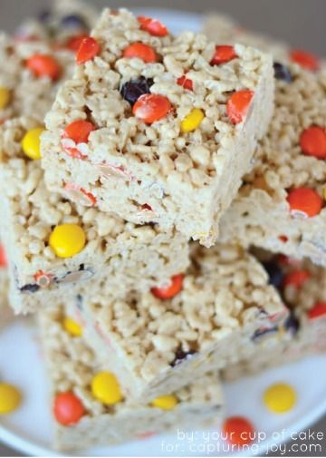 These candy-filled Rice Krispies Treats have a subtle crunch which complements the chewy marshmallow, peanut butter, and chocolate goodness perfectly.