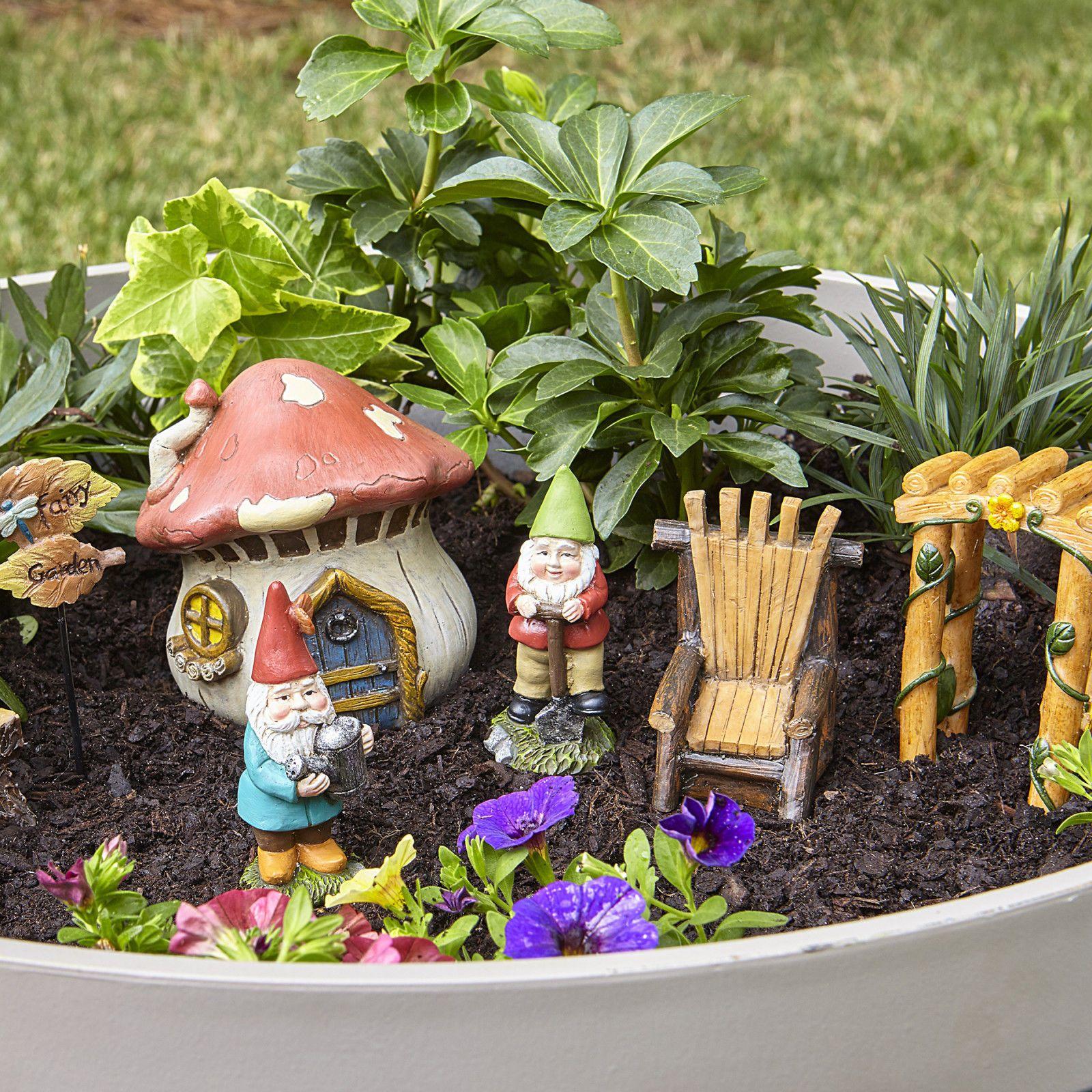Fairy Garden gnomes miniatures Kit set for outdoor Decor Miniature ...
