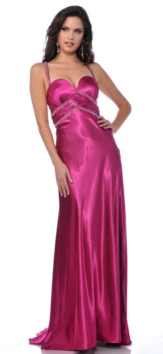 Vestido largo de fiesta formal para dama en raso | vestidos ...