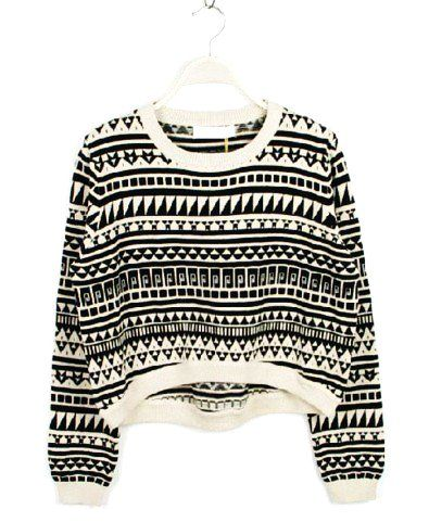 Aztec Print Short White Sweater - Vintage Short White Sweater For ...