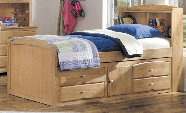 Un Polish Wooden Single Bed With Storage And Book Shelves Head