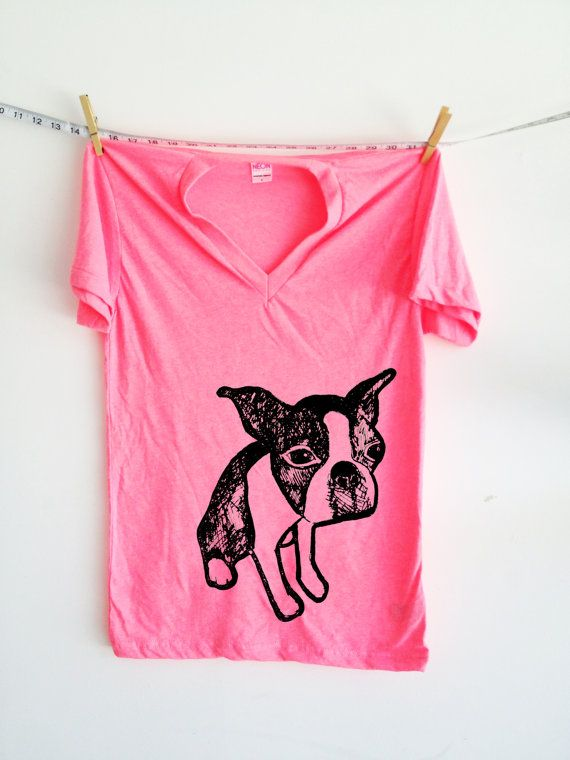 Neon Boston Terrier V neck shirt.