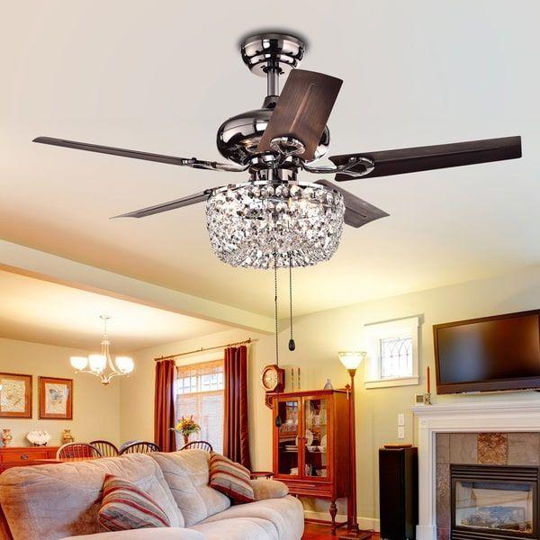 Angel 3 Light Crystal Chandelier 5 Blade 43 Inch Brown Ceiling Fan