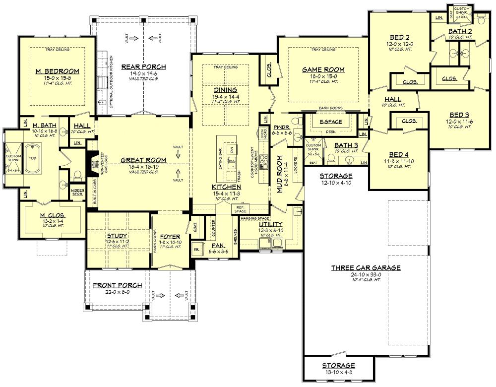 House Plan 041 00193 Craftsman Plan 3 366 Square Feet 4 Bedrooms 3 5 Bathrooms Floor Plans Ranch Ranch House Plans Country House Plans