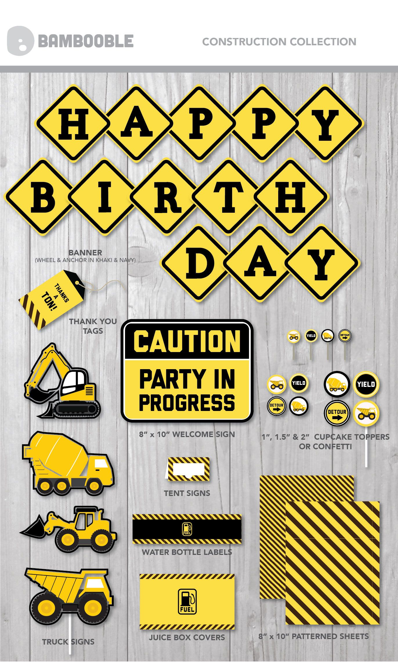 This Fun Printable Construction Theme Is Perfect For Your Little Builders Trucks Birthday Party Construction Birthday Parties Construction Theme Birthday Party
