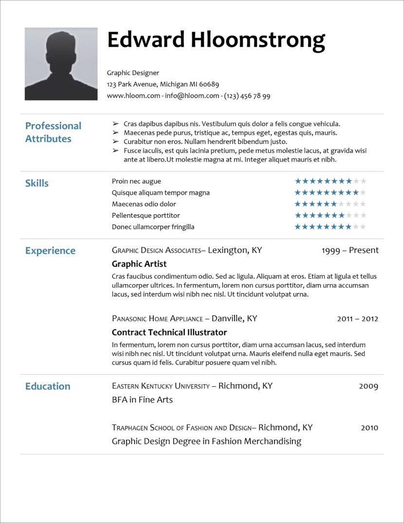 45 Free Modern Resume / CV Templates Minimalist, Simple