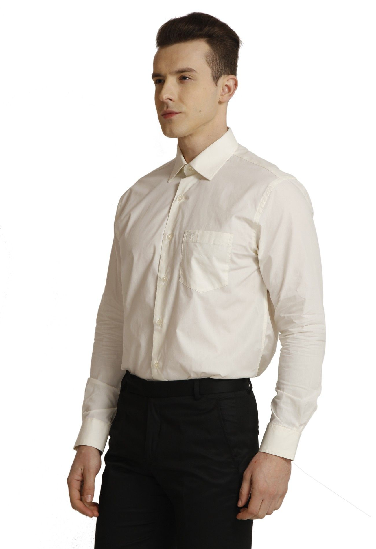 Men's Cream Plain Formal Shirt Formal shirts, Formal