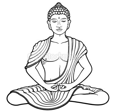 line art of young buddha meditating in lotus position buddha. Black Bedroom Furniture Sets. Home Design Ideas