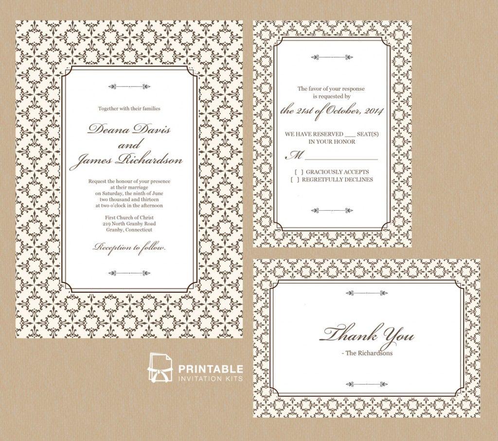 Print Wedding Invitations At Home: Stately Frame Wedding Invitation Set