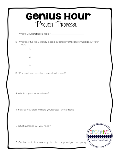 Genius Hour Template To Manage And Inspire Genius Hour Projects