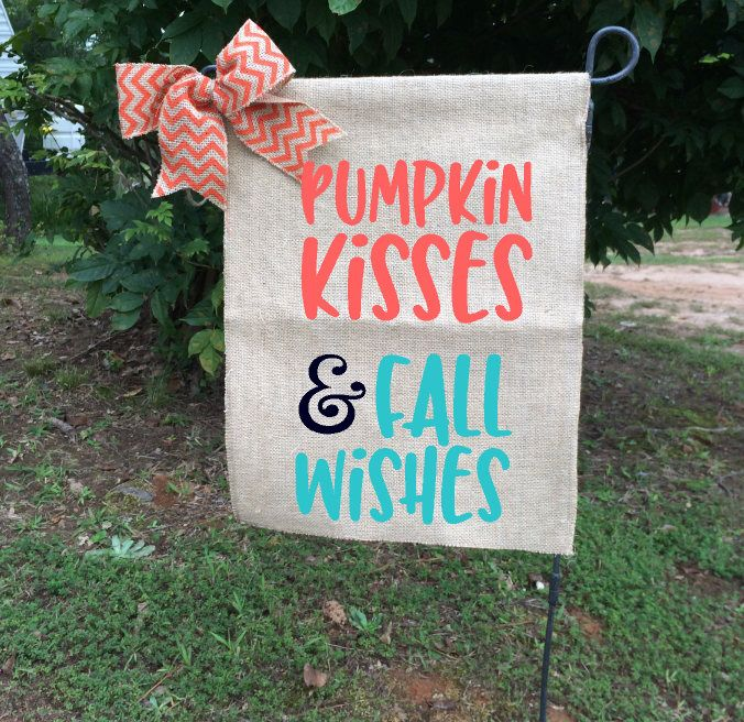 burlap garden flag. Pumpkin Flag, Fall Garden Flags, Kisses Wishes Welcome Flag Burlap