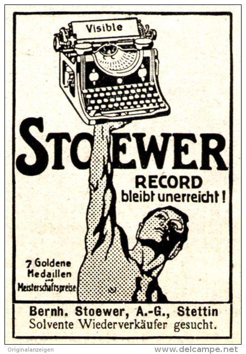 Original-Werbung/ Anzeige 1911 - STOEWER VISIBLE RECORD SCHREIBMASCHINE - STETTIN - ca. 40 x 50 mm