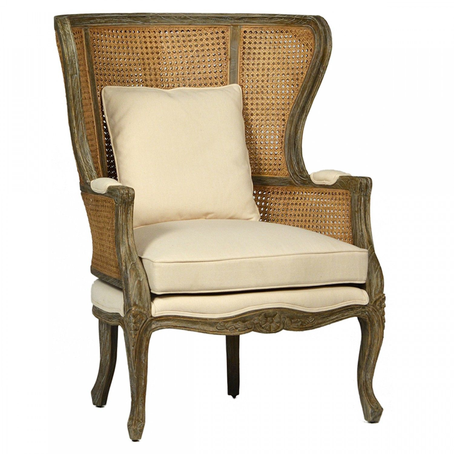 A lovely carved cane back chair French Farmhouse