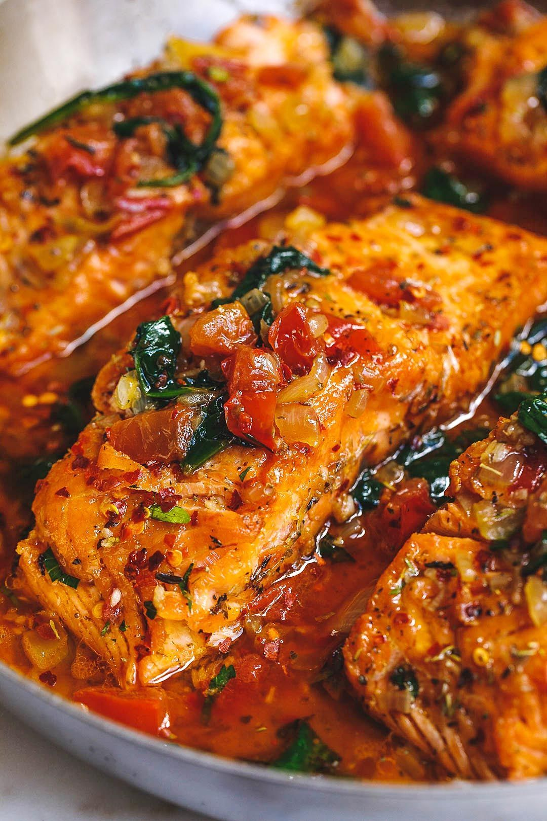 Tuscan Garlic Butter Salmon Skillet with Spinach and Tomato  Tuscan Garlic Butter Salmon   This easy and healthy salmon recipe
