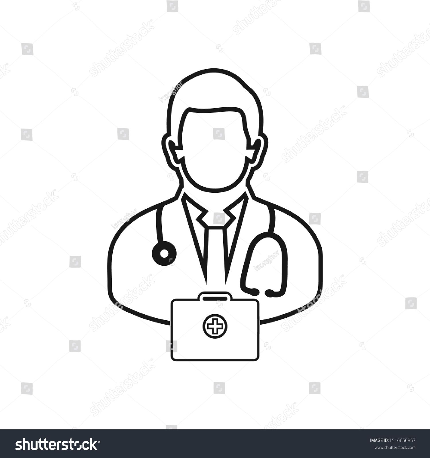 Doctor On Duty Line Icon Vector Stock Vector (Royalty Free
