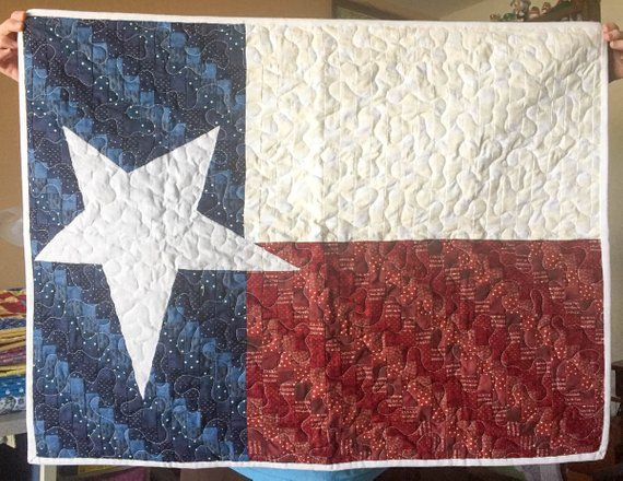 Texas Flag Quilt 27 X 36 Inches Lone Star Wall Hanging Decor Flag Quilt Quilts Quilted Wall Hangings