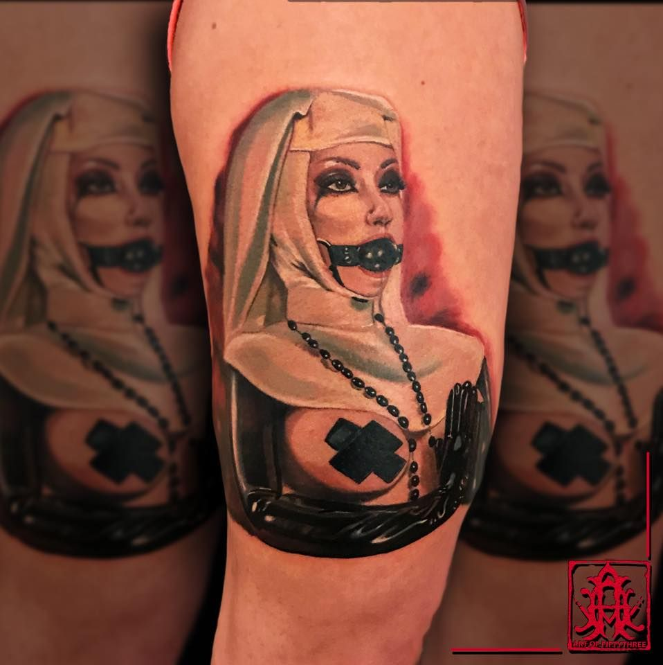 Naughty Nun Tattoo By Max At Holy Grail Tattoo Studio Satanic