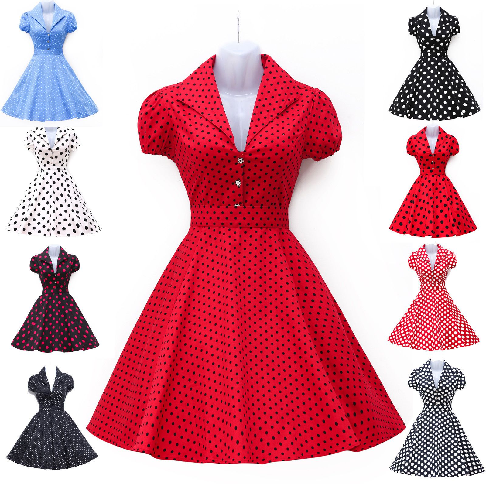 Red blue vintage style retro s flared evening tea dress swing