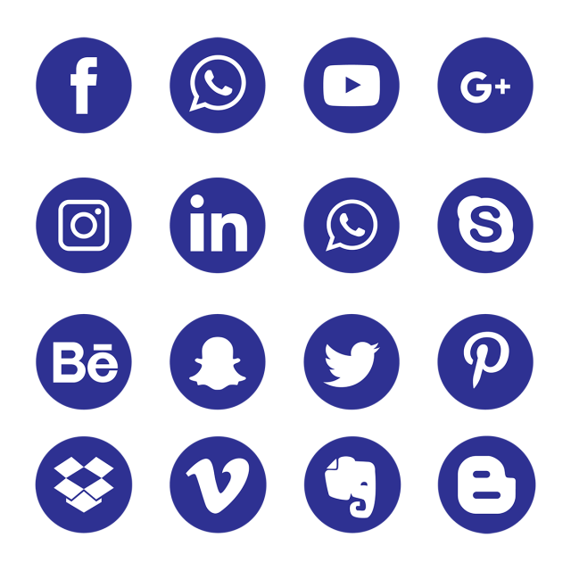 Blue Social Media Icons Social Media Icon Png And Vector