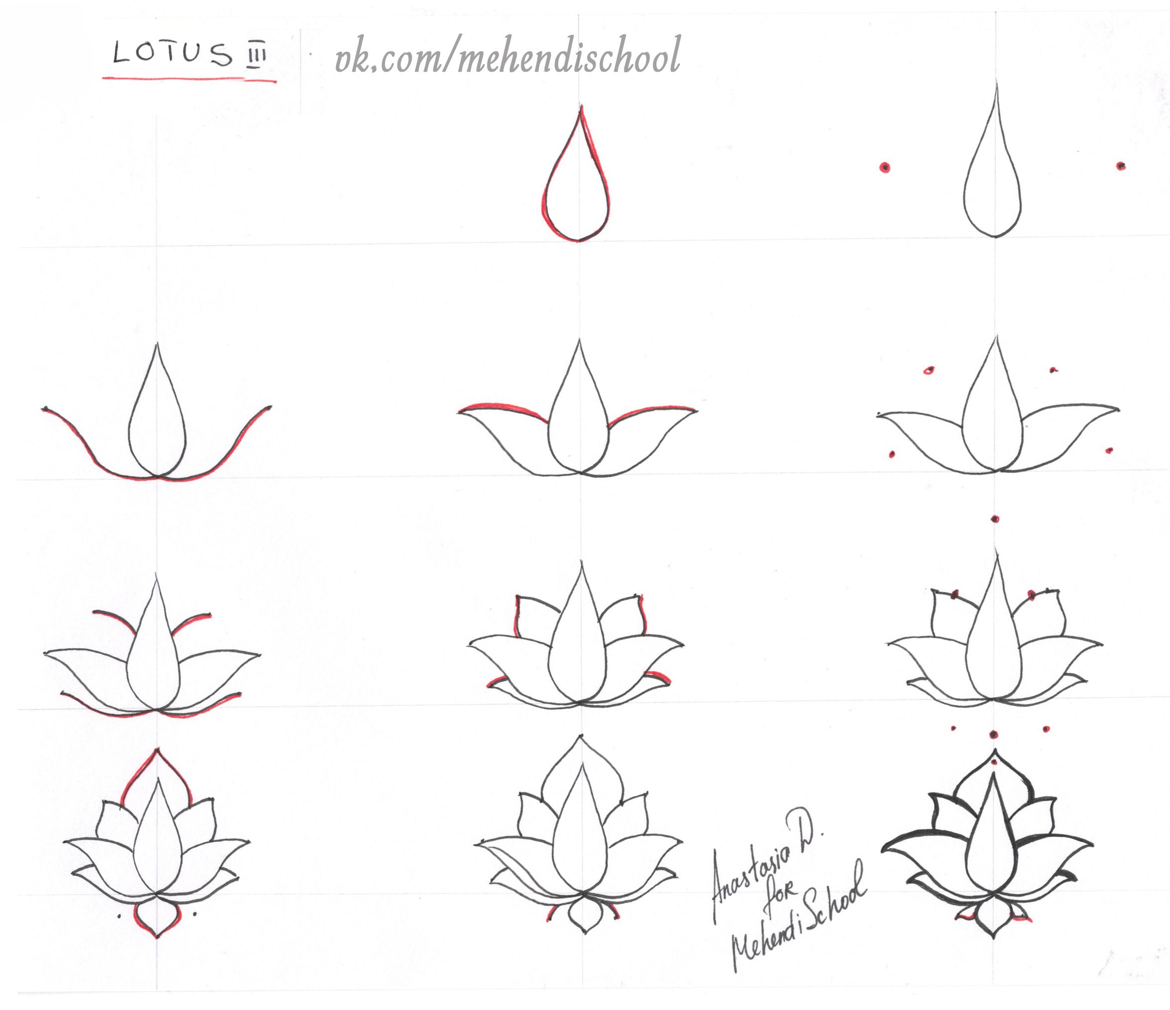 How to draw classic indian mehndi lotus. Easy tutorial