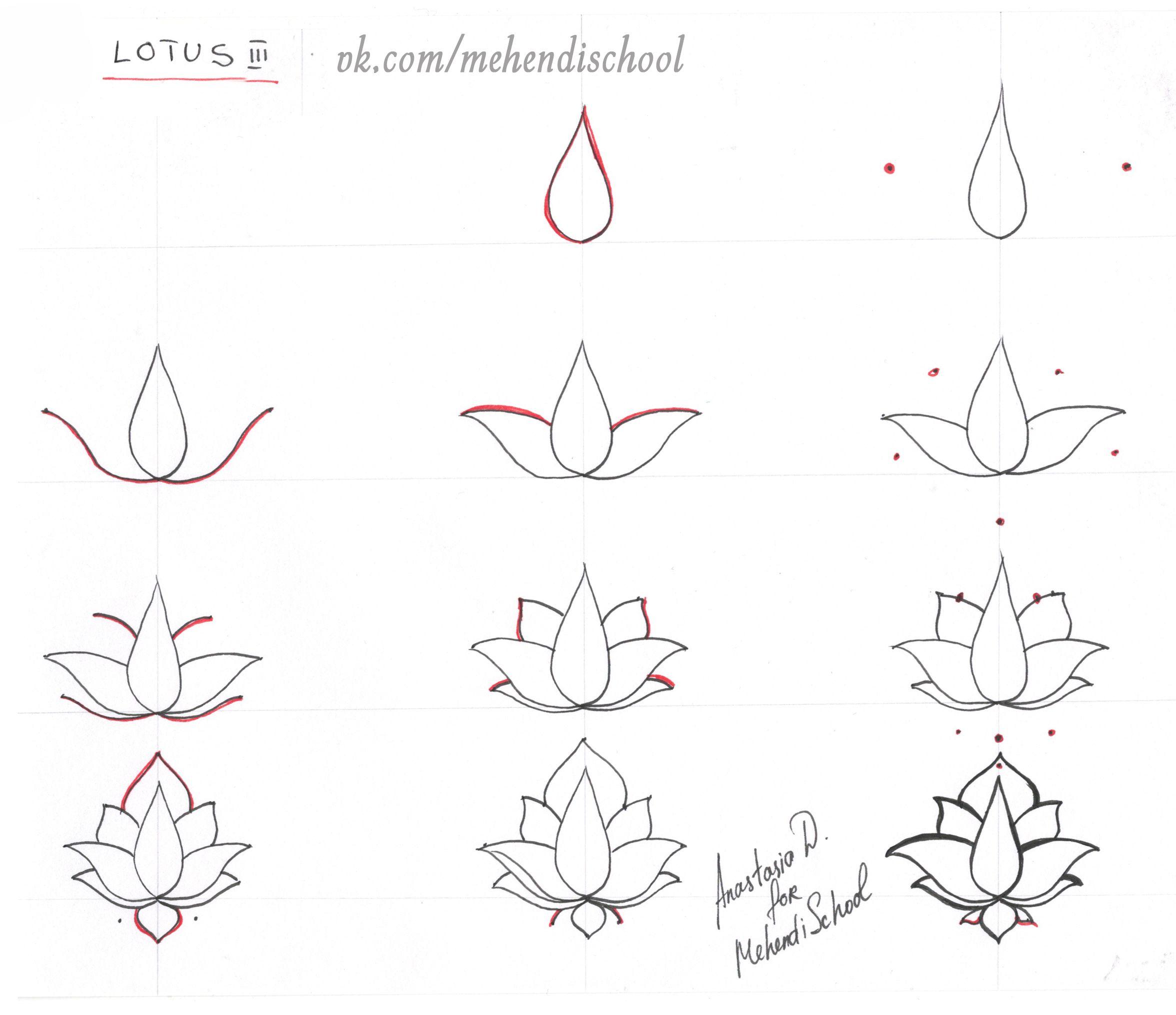 How To Draw Classic Indian Mehndi Lotus Easy Tutorial DIY