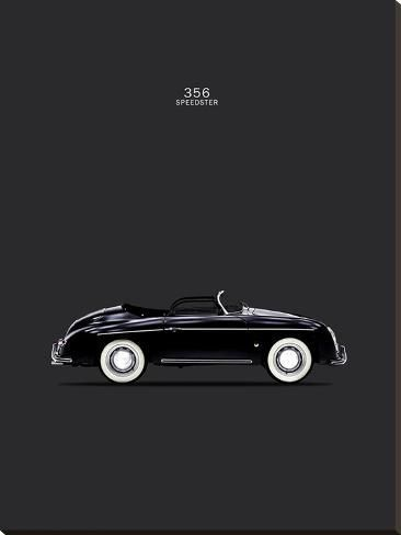 'Porsche 356 Speedster Black' Stretched Canvas Print - Mark Rogan | Art.com