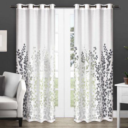 Exclusive Home Wilshire Burnout Sheer Grommet Top Window Curtain Panels, 54  Inch X 84 Inch