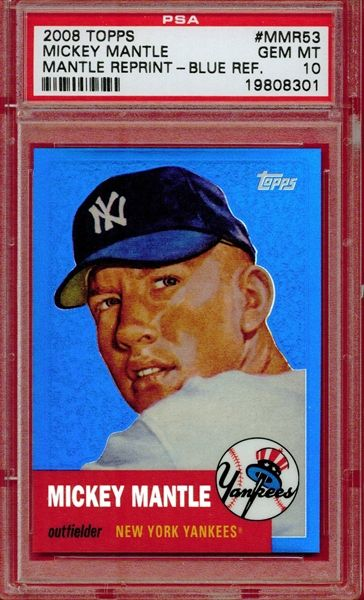 Mickey Mantle 2008 Topps 1953 Reprint Blue Refractor Mickey Mantle Mantle Baseball Cards