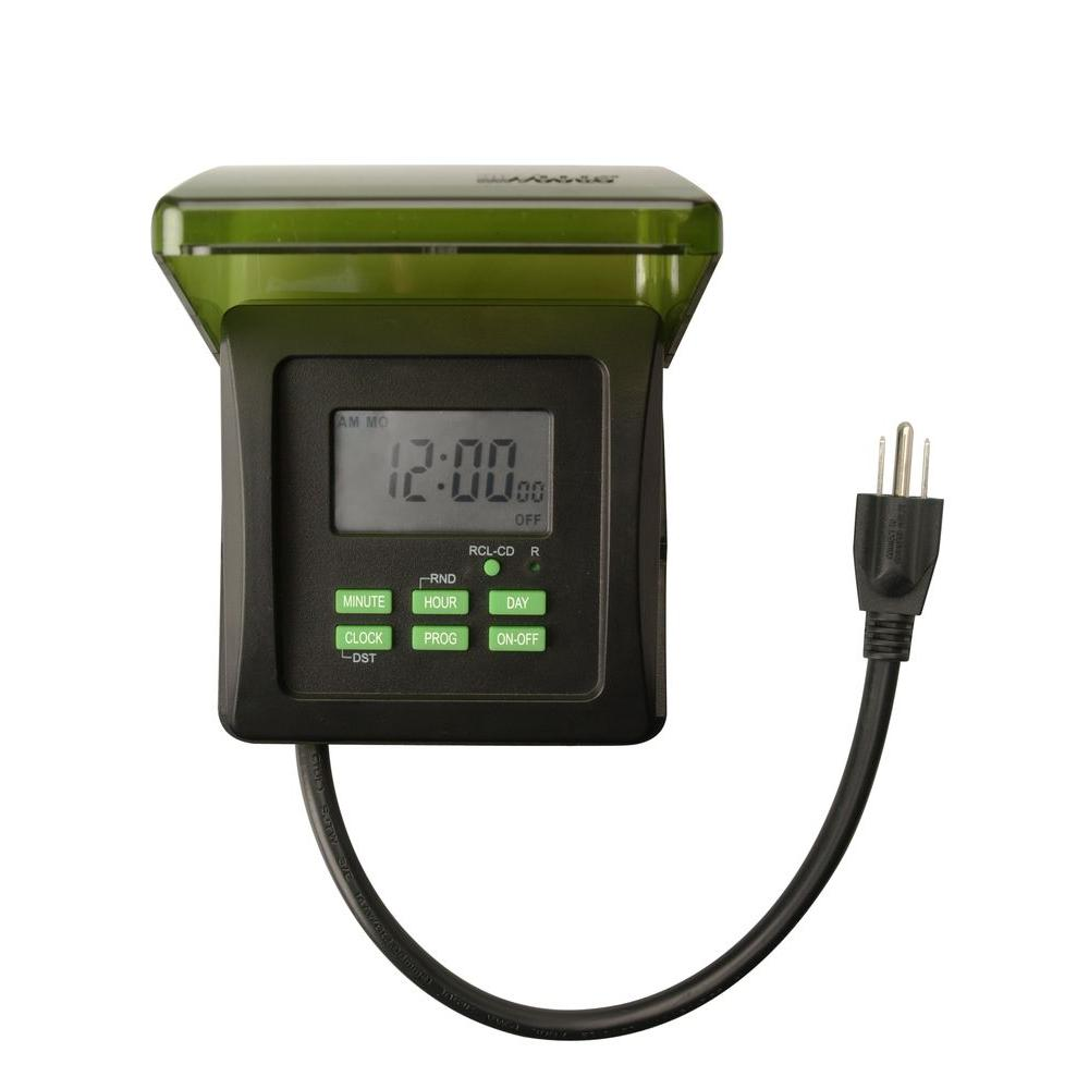 Woods 15 Amp 7 Day Outdoor Plug In Heavy Duty Dual Outlet Digital Timer Black 50015 The Home Depot Lights Timer Digital Timer Timer