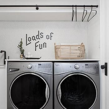 White and Gray Plaid Laundry Room Floor - Transitional - Laundry Room #graylaundryrooms