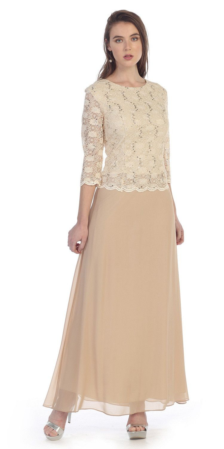 Plus Size Womens Cycling Clothing Uk. Three Quarter Sleeves Lace Top  Chiffon Skirt Gold Formal Dress 36fccd56f132