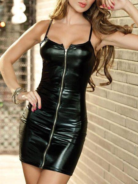 20af17edb49 Black Club Dress 2019 Sexy Straps Front Zip Up PU Leather Bodycon ...