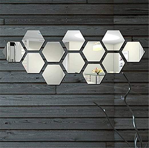 Hexagon Mirror Wall Stickers, 12PCS – Easy DIY Shop ...